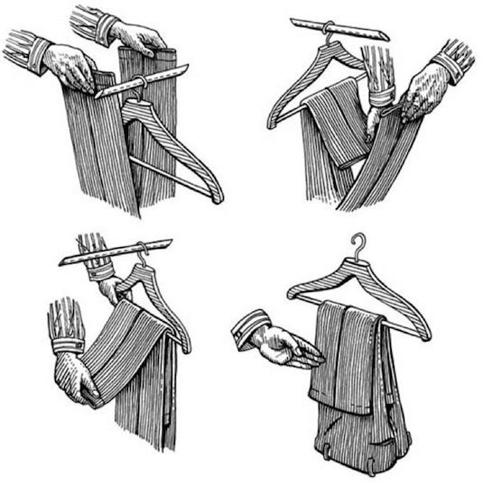 #31. How to hang your pants the right way! ~ 31 Clothing Tips Everyone Should Know Centilmen S...jpg